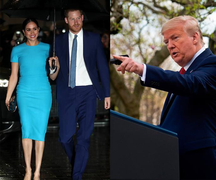 Harry and Meghan have swiftly responded to Trump's Twitter rant. *(Images: Getty)*