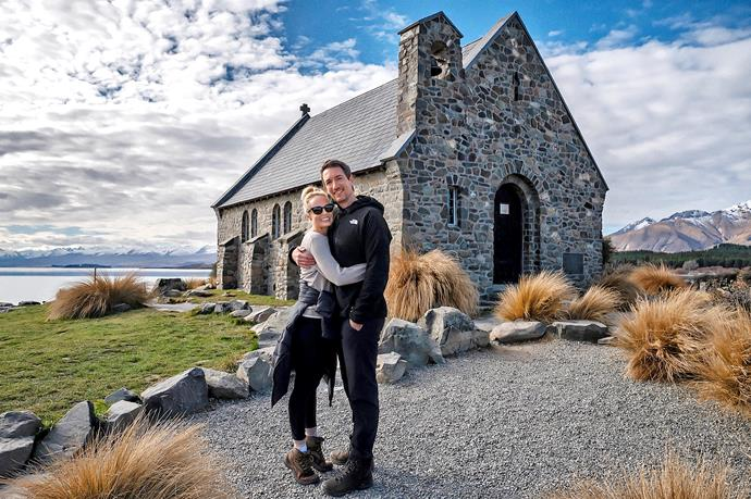 """Visiting the Tekapo church they got married in.  """"I was preggers and didn't know it!"""""""