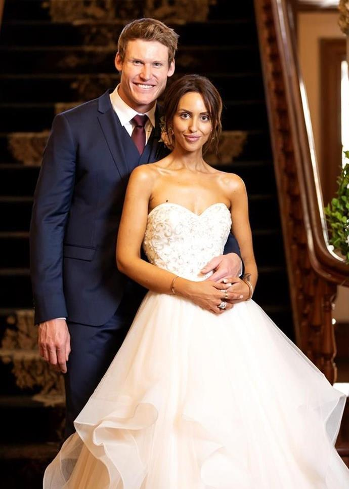 Seb and Lizzie's attraction was instant on their MAFS wedding day.  *(Channel Nine)*