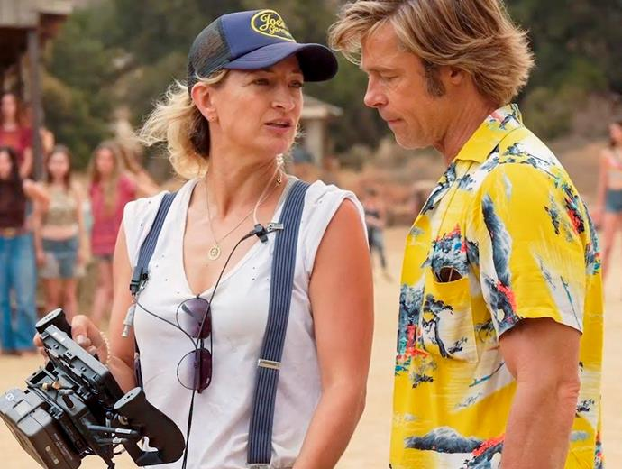Zoë on set with Brad Pitt