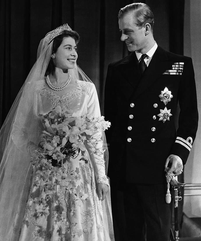 The happy couple on their wedding day in 1947. (Getty)