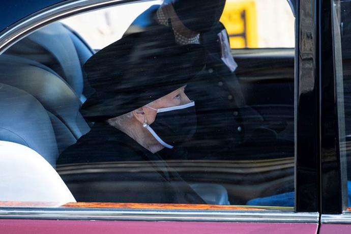 The Queen wore an all-black outfit as she arrived at the service.