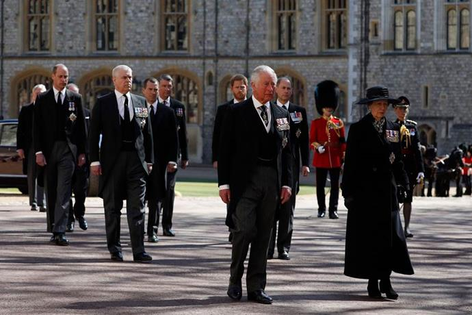 The family walked together behind the casket of Prince Philip as his funeral commenced.