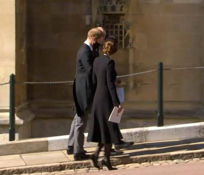 Following the service, Harry, WIlliam and Kate walked out together in conversation.