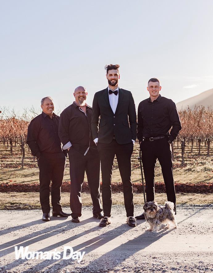 Alex with his groomsmen and pup Boris