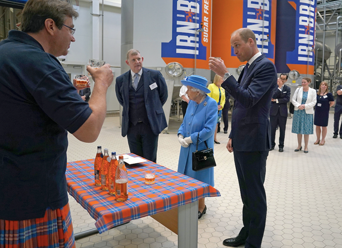 William had a taste of the country's iconic drink - Irn Bru. (Getty)