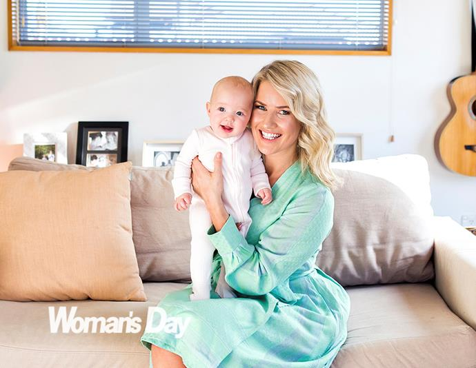 """A radiant Ali is smitten with new arrival Jemima. """"When you have a homebirth, you commit to knowing there are no pain- relief options."""""""