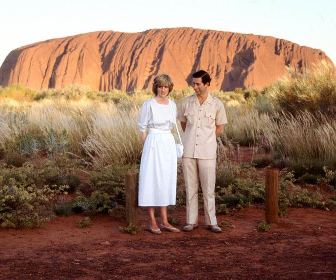 Diana and Charles take in the beauty of Uluru in the 1980s.