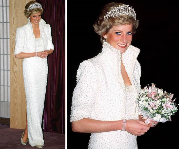 """The Princess was also a fashion luminary. Dubbed the """"Elvis"""" dress, this 1989 outfit became legendary."""
