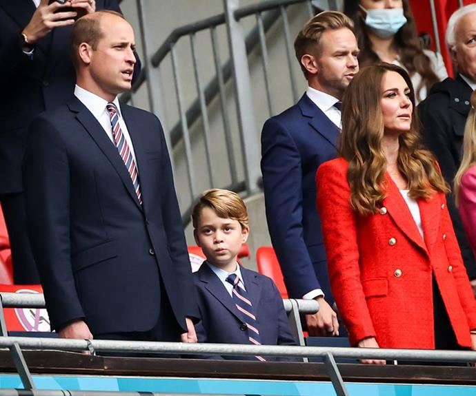 Prince William's mini-me: George looked so grown up when he donned a suit and tie for the soccer semi-finals at the end of June.