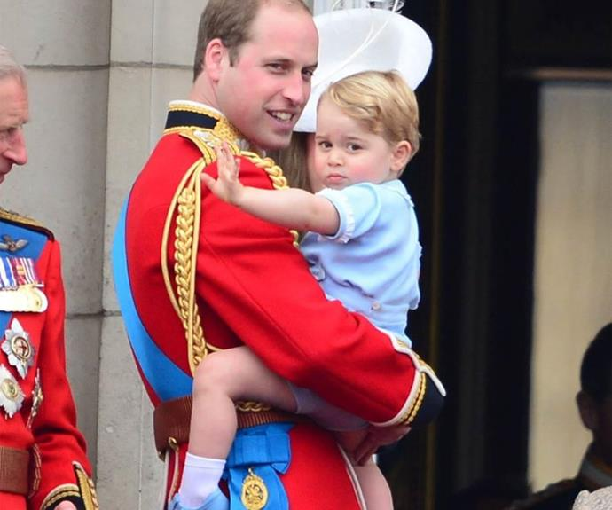 Time flies! Prince George, on the hip of proud father Prince William, pictured at his first Trooping the Colour parade in 2015.
