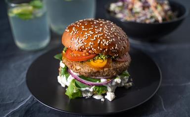 Gourmet pesto lamb burger