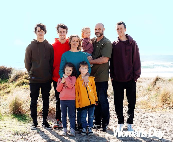 """The couple with their kids (from left) Aidan, Clayton, Elise, Mason, Brooke and Mitchell. """"We owe them a happy life and happy parents."""""""