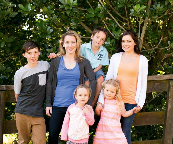 Kristie with her kids (from left) Zack, Curtis and Haylee, and sister Nikki with daughter Skyla.