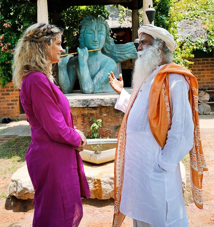 Rachel meets Sadhguru at the Isha Yoga Centre in India. Photo: Supplied