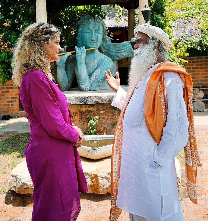 Rachel meets Sadhguru at the Isha Yoga Centre in India. Photo: Supplied