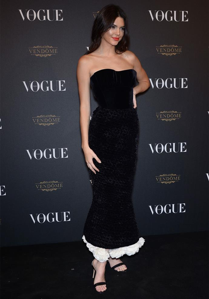 Kendall Jenner in Ulyana Sergeenko at the 95th anniversary party for *Vogue Paris*