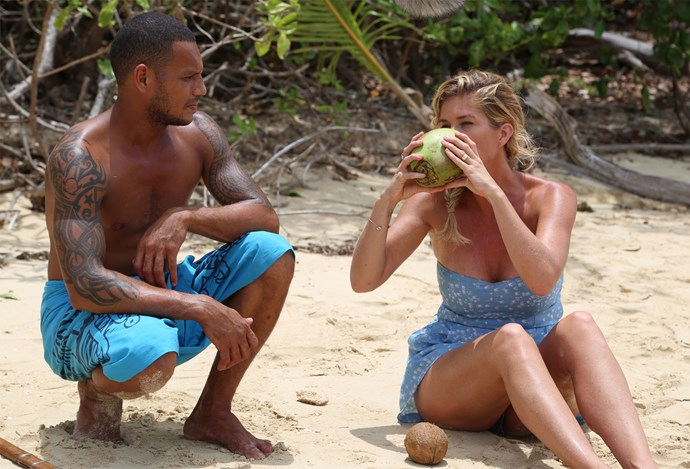 Rachel gets a taste of fresh coconut water in Fiji. Photo: Supplied