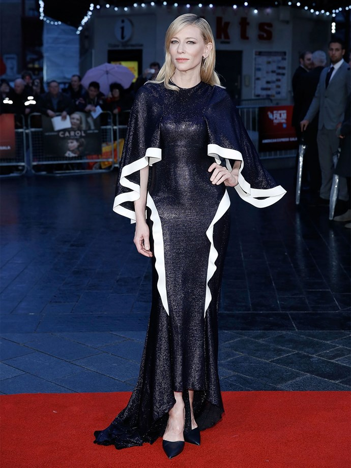 Cate Blanchett in Esteban Cortazar at the BFI London Film Festival premiere of her film *Carol*. Photo: Getty
