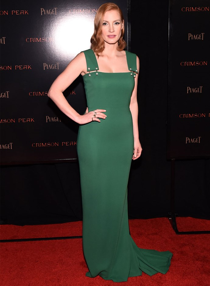 Jessica Chastain in Lanvin at the New York premiere of her film *Crimson Peak*. Photo: Getty