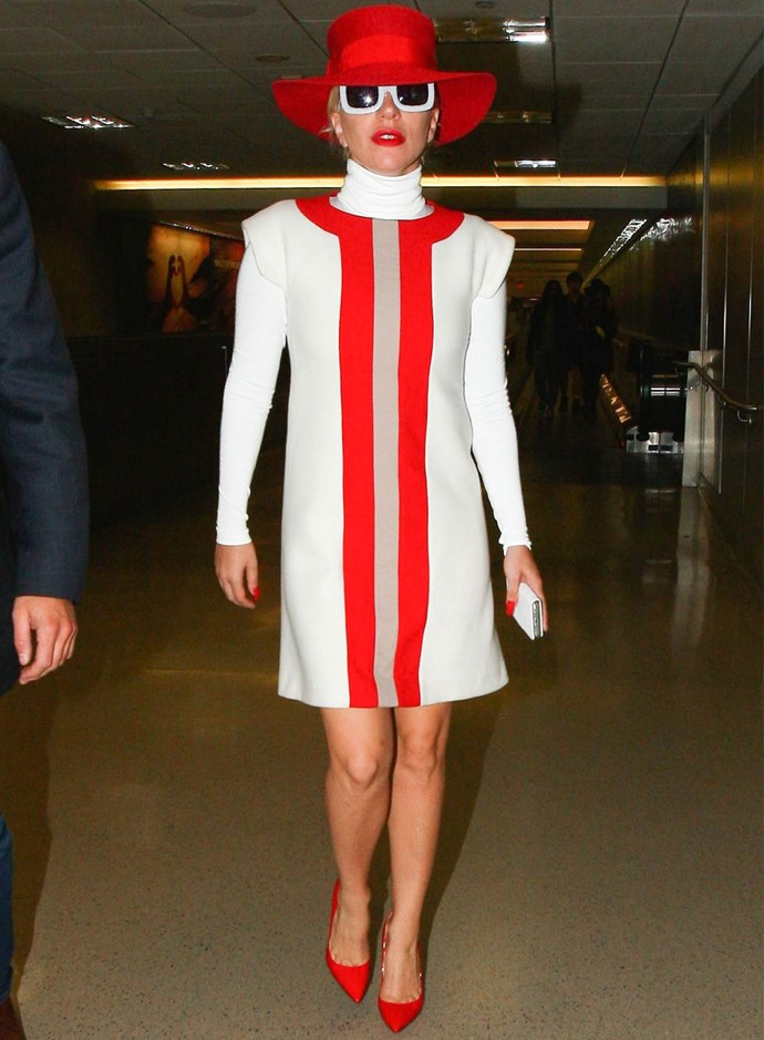 Lady Gaga in Jonathan Saunders at LAX. Photo: Getty
