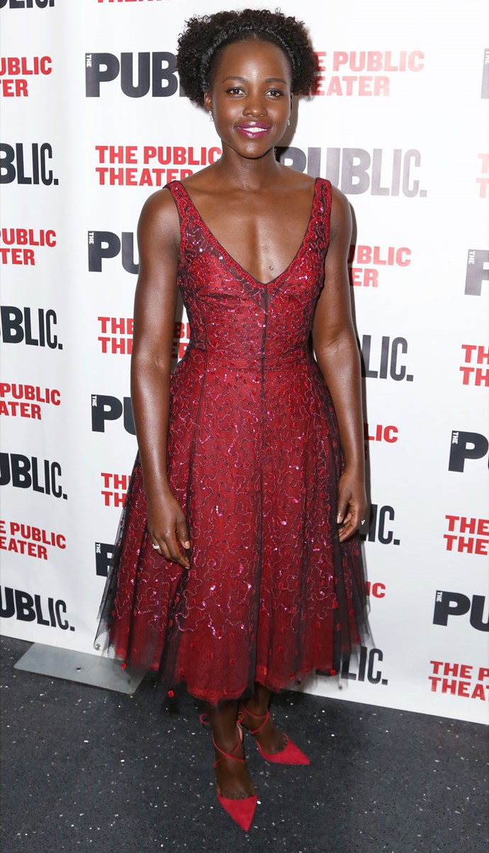 Lupita Nyong'o in Christian Dior at the opening night of her new play *Eclipsed*. Photo: Getty