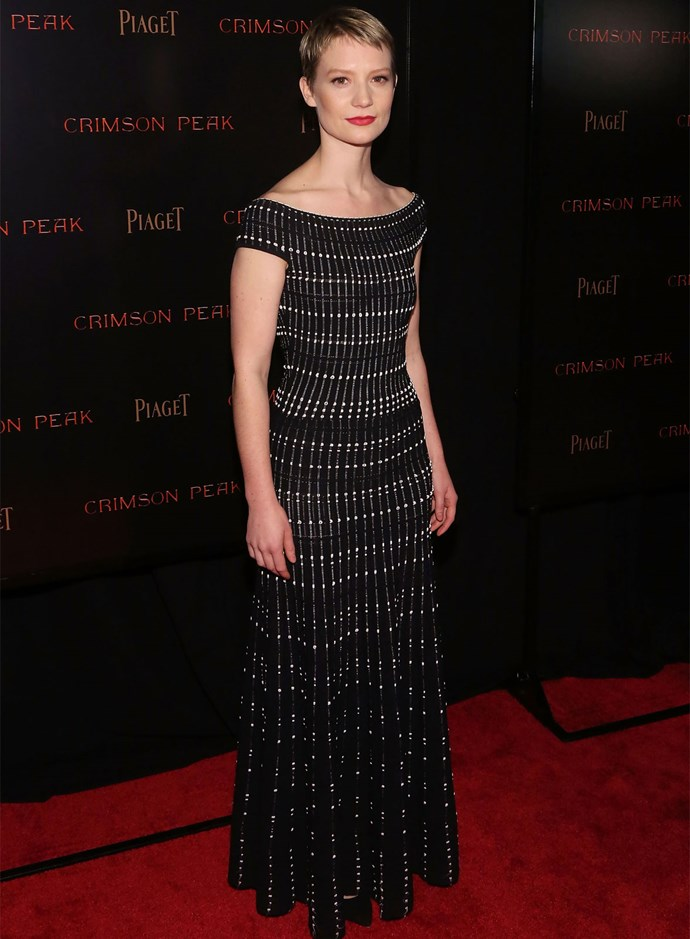Mia Wasikowska in Alexander McQueen at the premiere of her film *Crimson Peak*. Photo: Getty