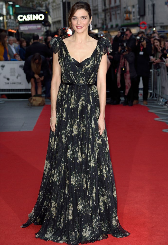 Rachel Weisz in Alexander McQueen at the BFI London Film Festival premiere of *The Lobster*. Photo: Getty