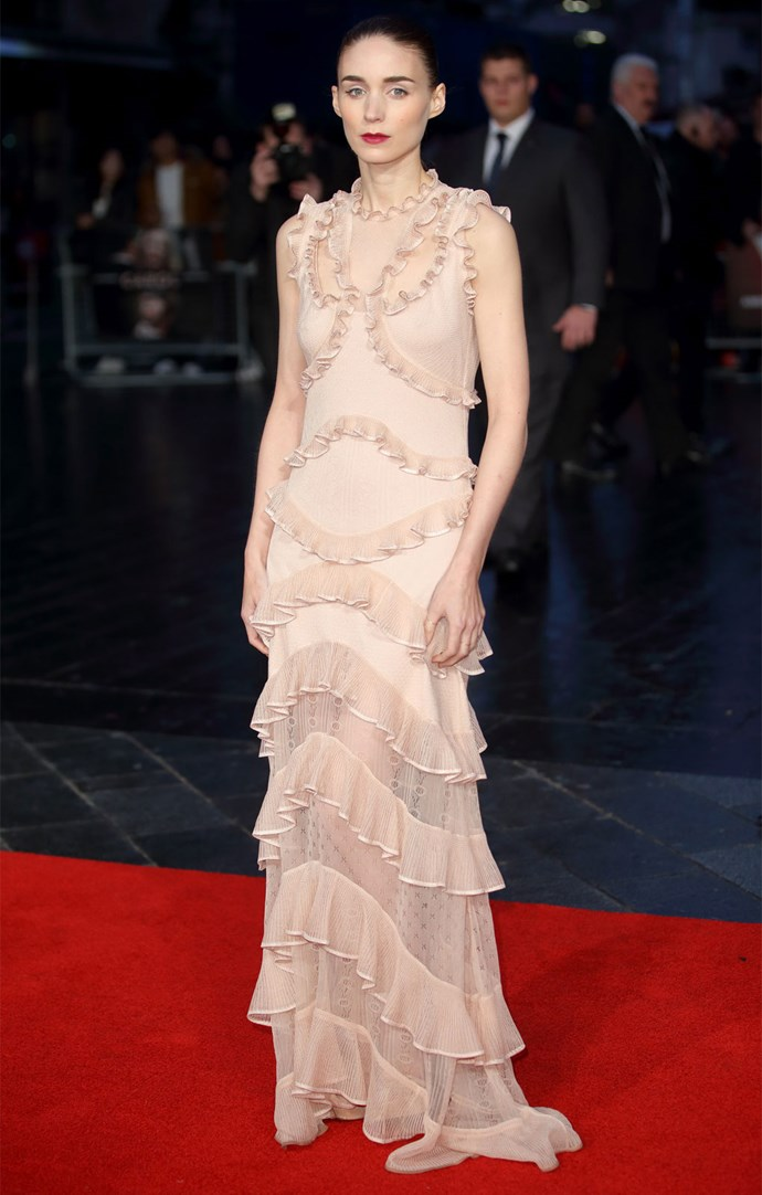 Rooney Mara wears Alexander McQueen at the BFI London Film Festival premiere of her film *Carol*. Photo: Getty