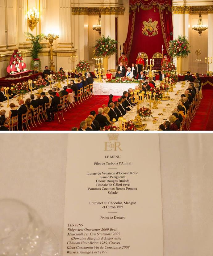 A peek at the official menu at the state banquet, which was held at Buckingham Palace on Tuesday.