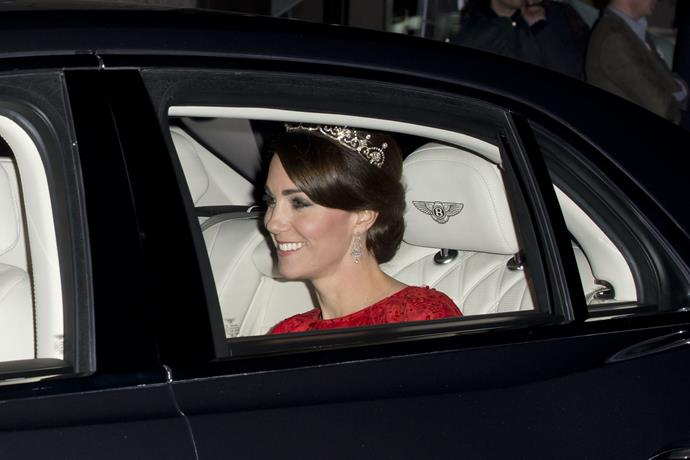 Kate is seen wearing the Lotus Flower tiara en route to the banquet.