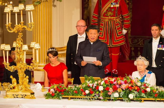 Chinese President Xi Jinping speaks during the state banquet.