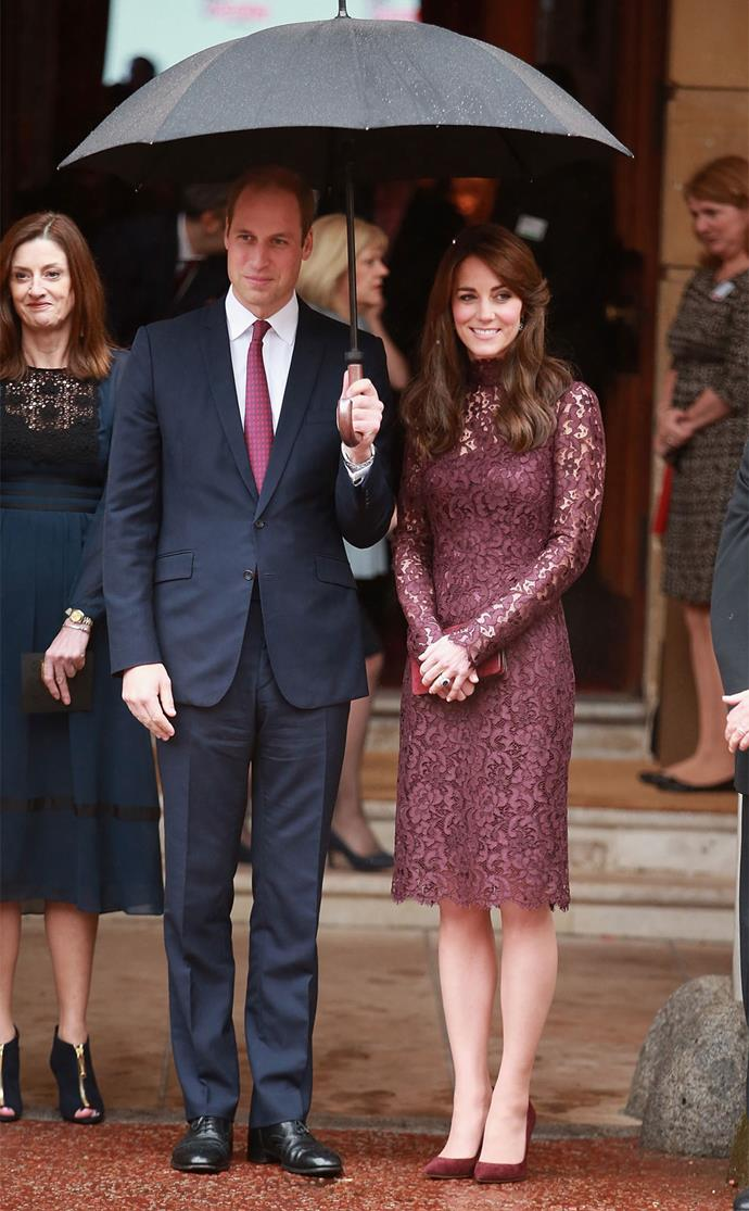 The next day, Kate wore a lacy long-sleeved dress from Dolce and Gabbana to welcome the Chinese President and his wife to an event at Lancaster House in London, celebrating cultural collaboration between China and the UK. Photo: Getty