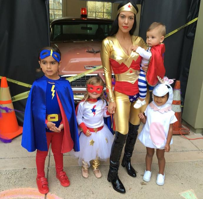 Kourtney Kardashian and her kids Mason, Penelope and Reign (plus little North dressed up as a unicorn!) take on Halloween as a squad of superheroes.