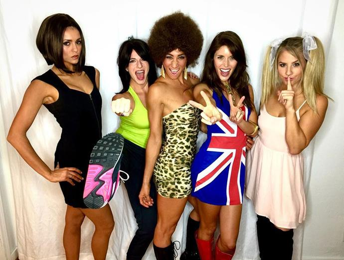 Former *The Vampire Diaries* star Nina Dobrev nails her look as Posh Spice of the Spice Girls, dressing up with her gal pals to attend a Halloween party.