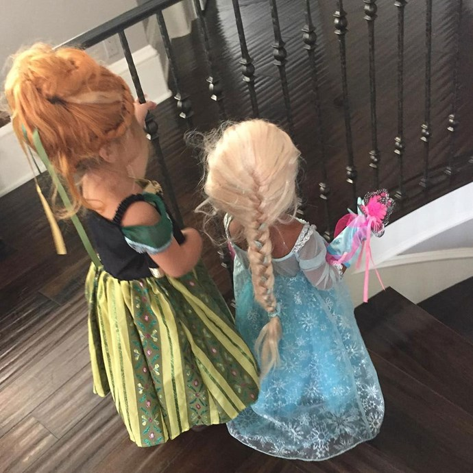 Today, Kim shared a sneak peek of BFFs North and Penelope's matching *Frozen* costumes!