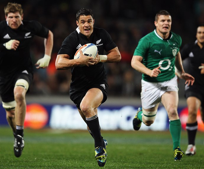 **June 2012**: Dan sprints across the field during a match against Ireland at Auckland's Eden Park. Photo: Getty