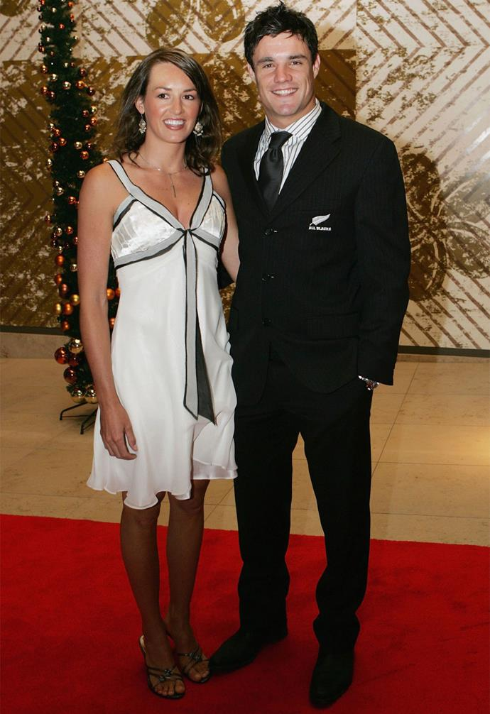 **December 2006**: Dan strikes a pose with Honor at the NZ Rugby Awards. Photo: Getty
