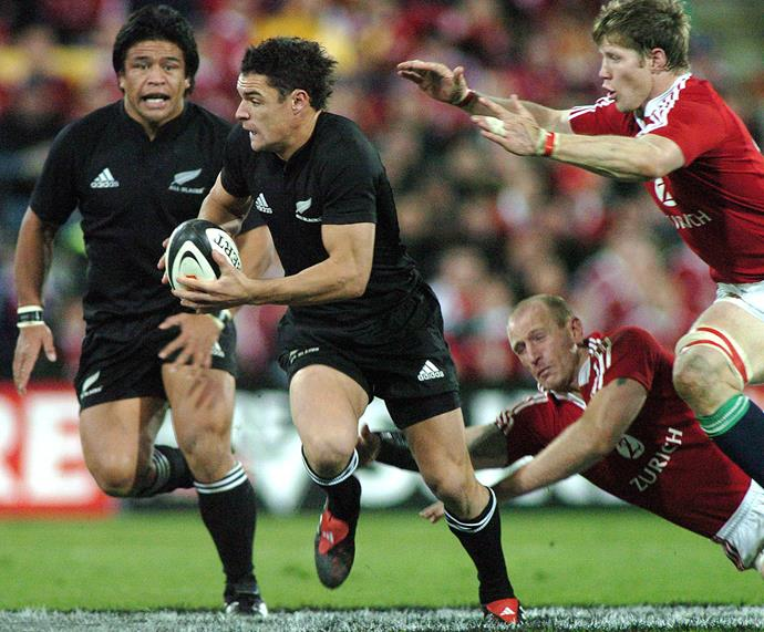 **July 2005**: Dan charges ahead followed by Keven Mealamu during a game against the British and Irish Lions at Wellington's Westpac Stadium. Photo: Getty