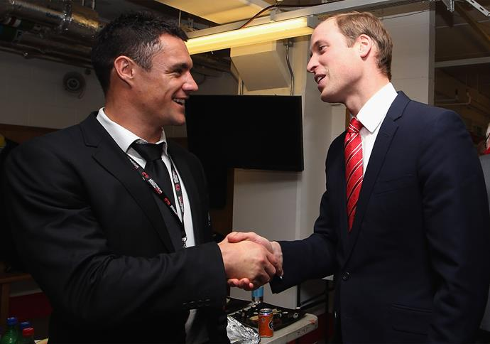 **November 2012**: Dan shakes hands with Prince William after playing a match against Wales in Cardiff. Photo: Getty