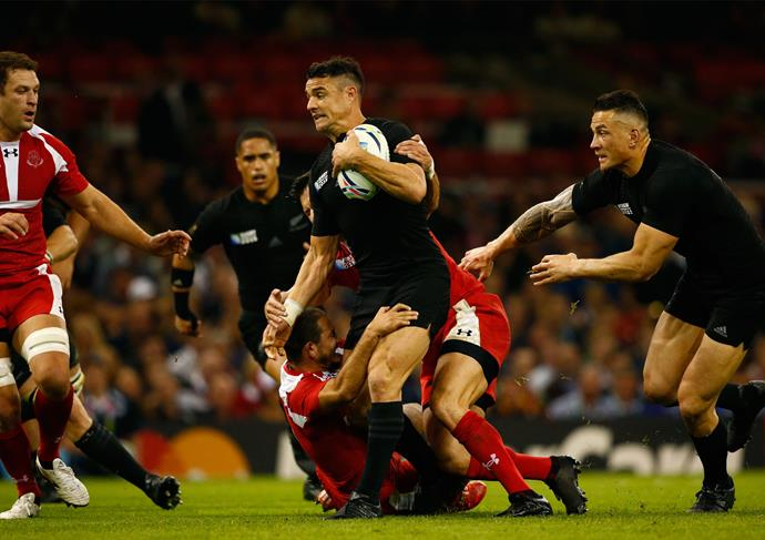 **October 2015**: Dan keeps a close grip on the ball during the Rugby World Cup Pool C match against Georgia. Photo: Getty