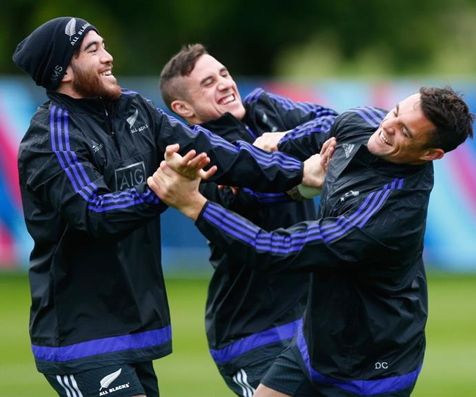 **September 2015**: Dan jokes around with Nehe Milner-Skudder and TJ Perenara during a training session. Photo: Getty