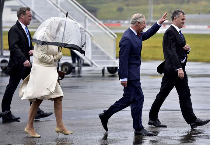 Prince Charles and Camilla, Duchess of Cornwall arrive on a wet and windy day in Wellington. Photo: Getty