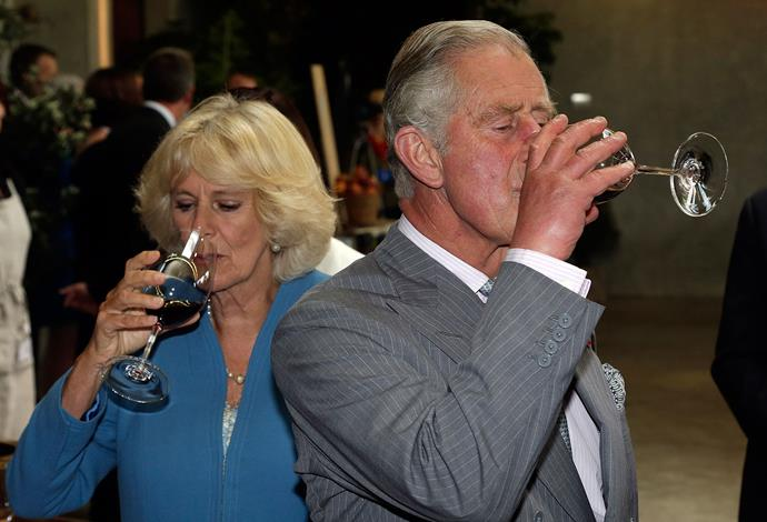 Charles and Camilla sample wines at Nelson's Mahana Winery. Photo: Getty