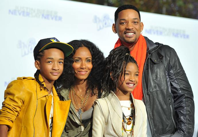 Jaden with his mother Jada, sister Willow and dad Will at a premiere in 2011. Photo: Getty