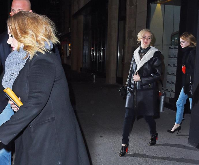 Adele, Jennifer and Emma were pictured on a night out together in November.