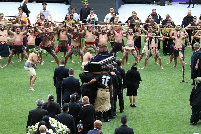 Jonah's coffin was brought to the stage by pallbearers including former All Blacks Michael Jones, Frank Bunce, Joeli Vidiri and Jerome Kaino, as well as New Zealand rugby league player Manu Vatuvei.