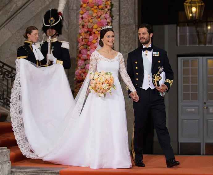 Prince Carl Philip of Sweden married his longtime love Sofia Hellqvist in June, at the palace chapel. After the ceremony, the newlyweds took a ride through the streets of the city in a horse-drawn carriage, greeting the many well-wishers who lined the streets.