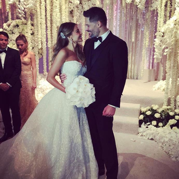 Sofia Vergara married *Magic Mike* hunk Joe Manganiello in a gorgeous ceremony in Florida's Palm Beach in November. Sofia looked radiant in a strapless Zuhair Murad gown, and she walked down the aisle on the arm of son Manolo.