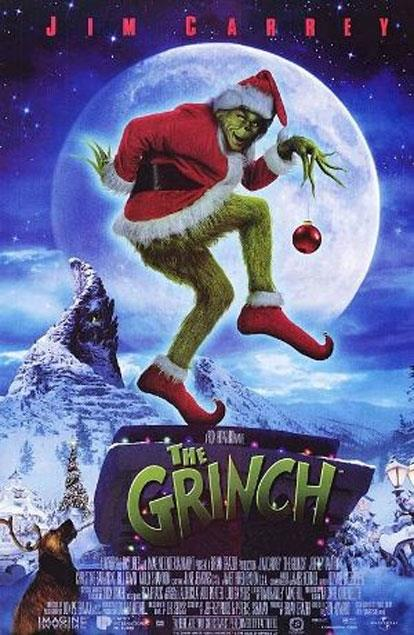 Jim Carrey stars as the grumpy green Grinch who decides to ruin the holiday in *Dr. Seuss' How The Grinch Stole Christmas*, but his plans are foiled by the adorable Cindy Lou Who.